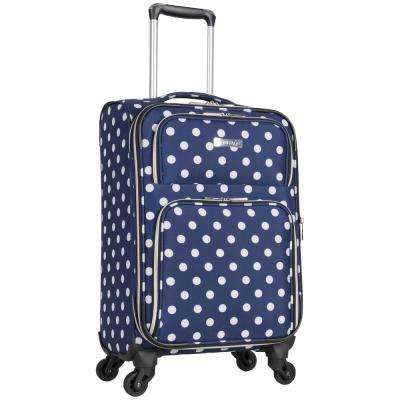 Albany Park 20 in. Lightweight Navy/White Polka Dot Printed Expandable 4-Wheel Carry-On Luggage