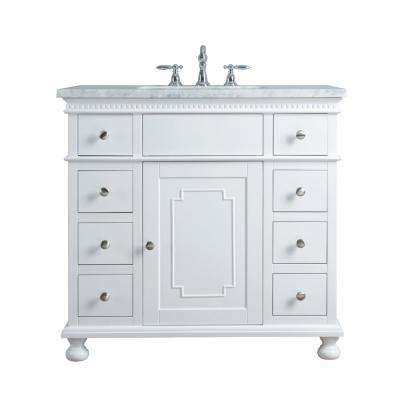 36 in. Abigail Embellished Single Sink Vanity in White with Marble Vanity Top in Carrara with White Basin