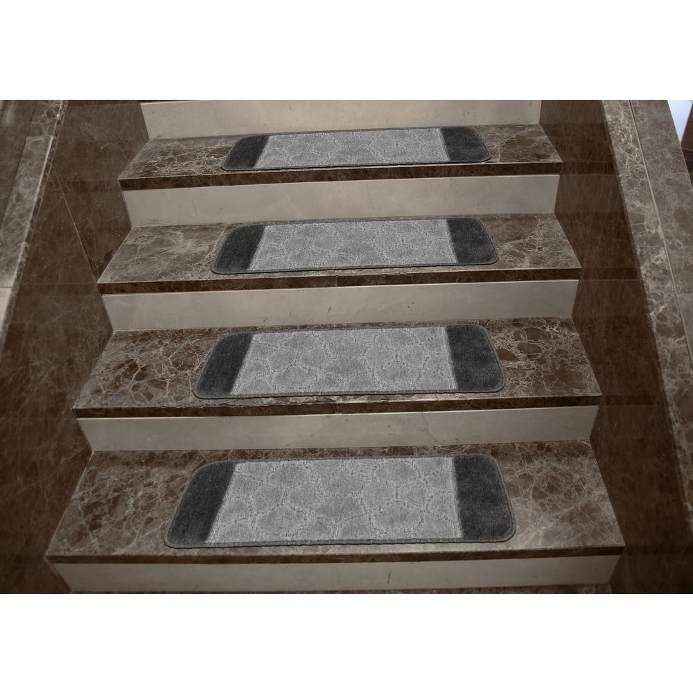 Attractive Ottomanson Softy Collection Grey Bordered Design 9 In. X 26 In. Rubber Back  Stair