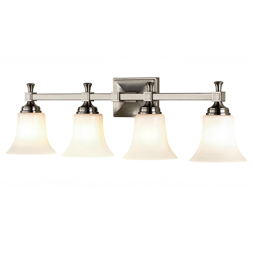 Home Decorators Collection 4-Light Satin Nickel Bath Sconce with Opal Glass Shades