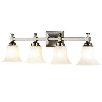 4-Light Satin Nickel Bath Sconce with Opal Glass Shades