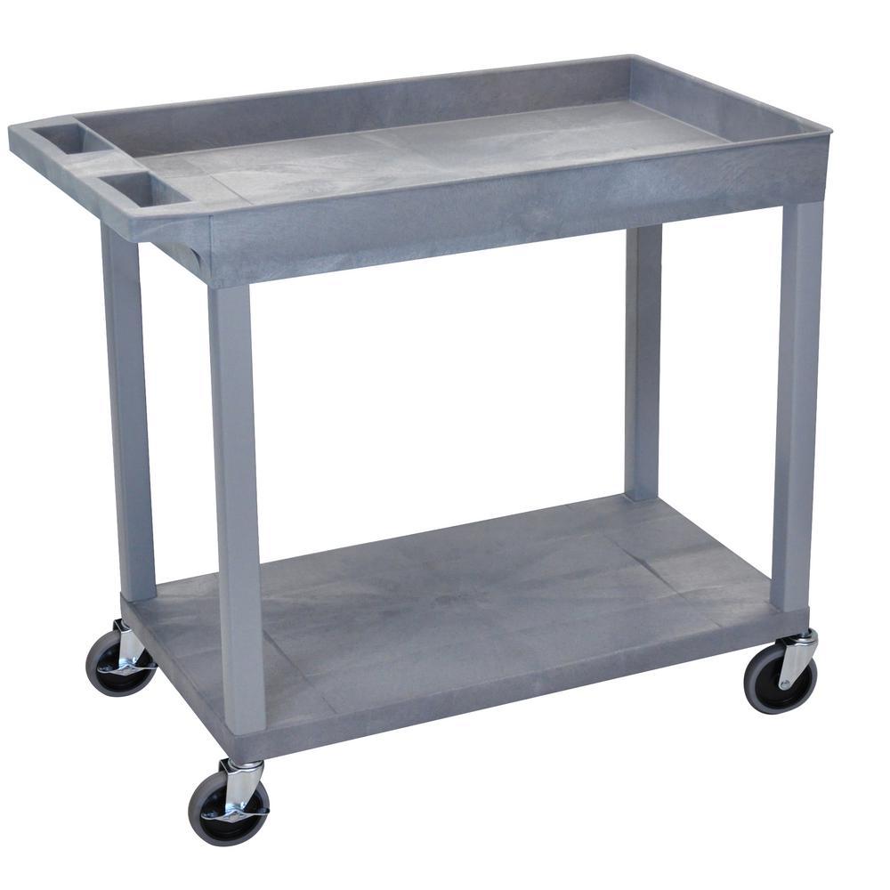 EC 35.25 in. W x 18 in. D x 32.5 in. H Utility Cart with 1-Tub 1-Flat Shelf in Gray