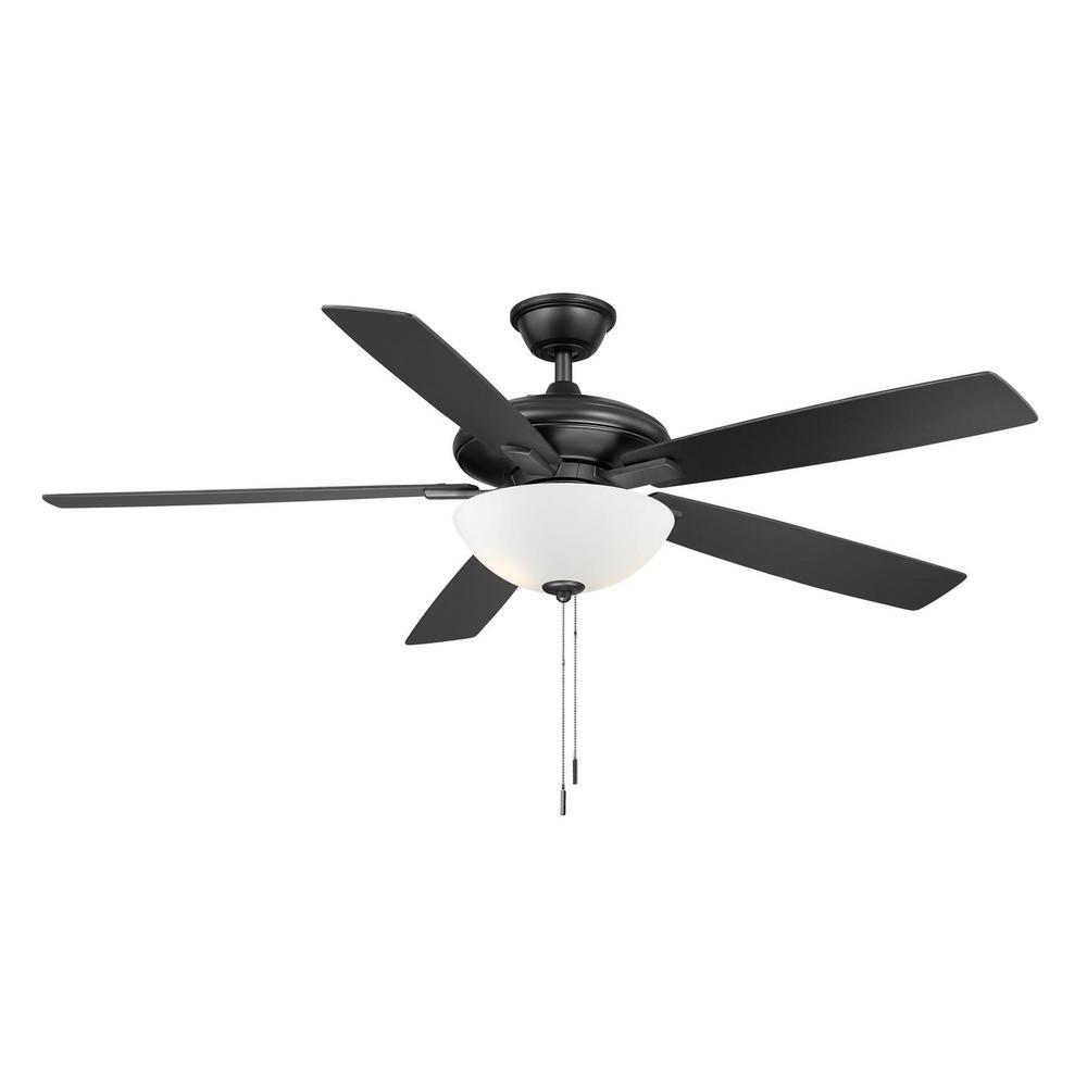 Abbeywood 60 in. LED Matte Black Ceiling Fan With Light Kit