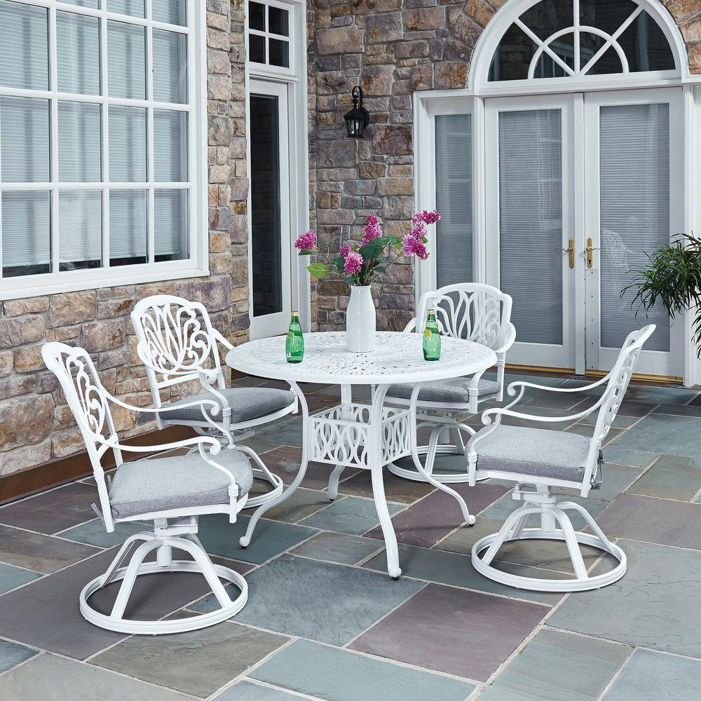 Home Styles Floral Blossom White 5 Piece All Weather Patio Dining Set With Cushions 5562 325