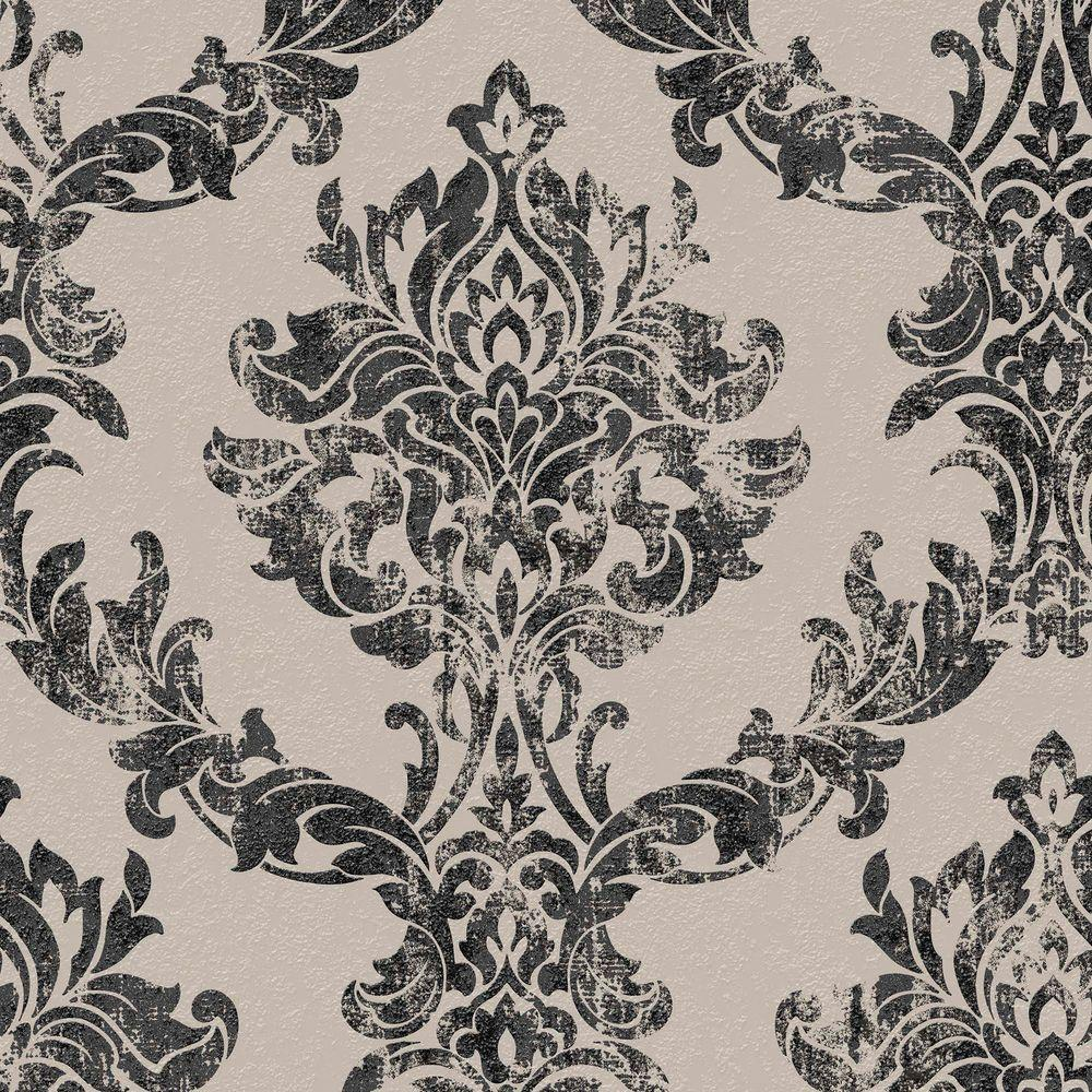 Charcoal and Gold Opal Damask Wallpaper