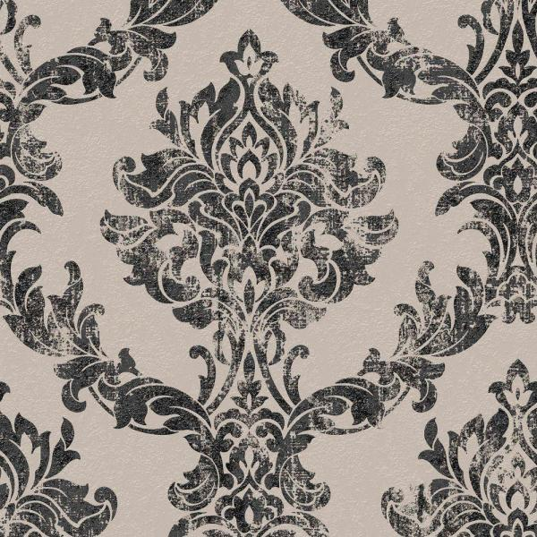 Graham & Brown Charcoal and Gold Opal Damask Wallpaper 101470