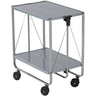 Wheeled Serving Cart Metal Silver