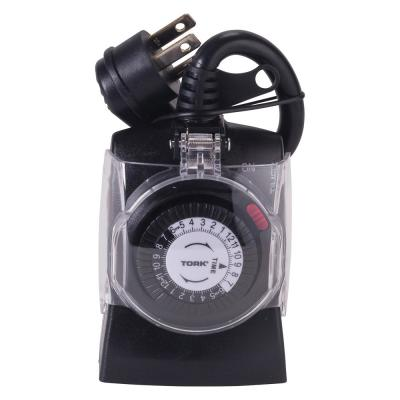 15 Amp 24-Hour Outdoor Weatherproof Plug-In Mechanical Timer with Multiple ON/OFF-2 Grounded Outlet