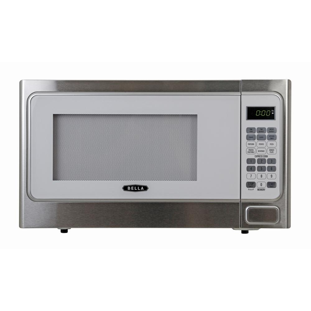 Bella 1.1 cu. ft.1000-Watt Countertop Microwave Oven in W...