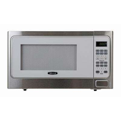 1.1 cu. ft.1000-Watt Countertop Microwave Oven in White with Stainless Steel