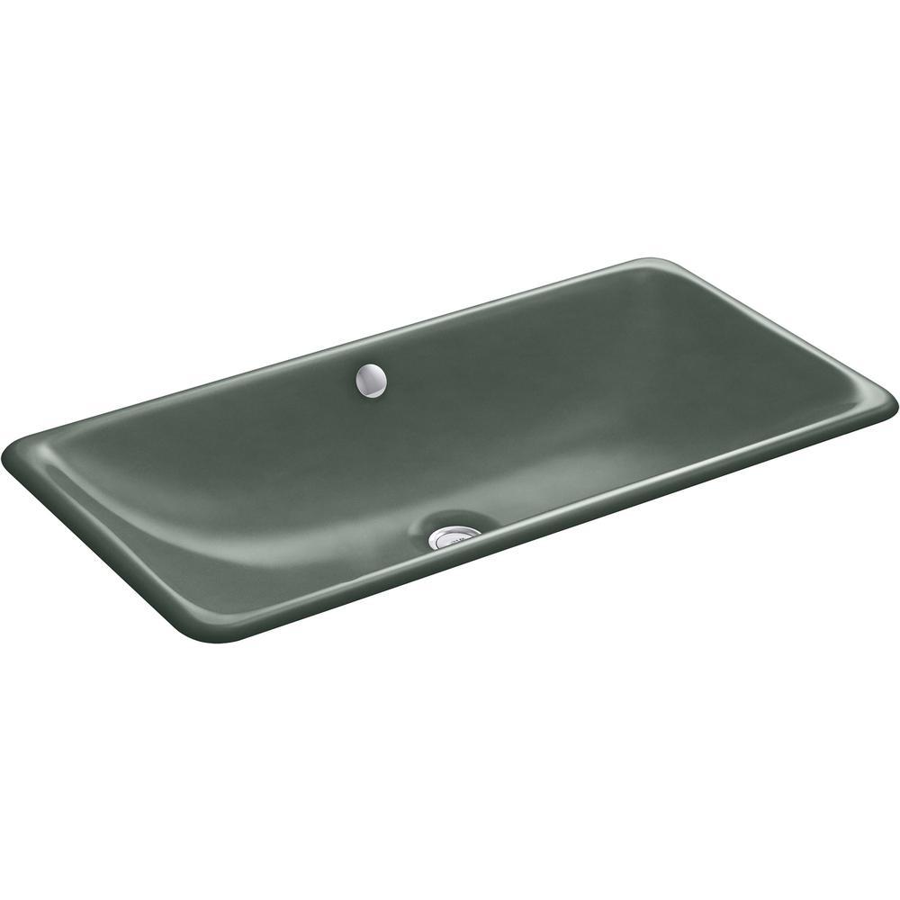 KOHLER Iron Plains 30 in. Drop-In Bathroom Sink in Basalt