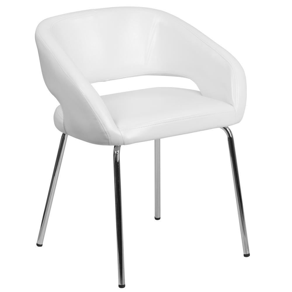 Flash Furniture Fusion Series Contemporary White Leather Side Reception Lounge  Chair