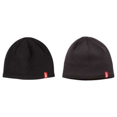 Men's Black Fleece Lined Knit Hat with Gray Fleece Lined Knit Hat