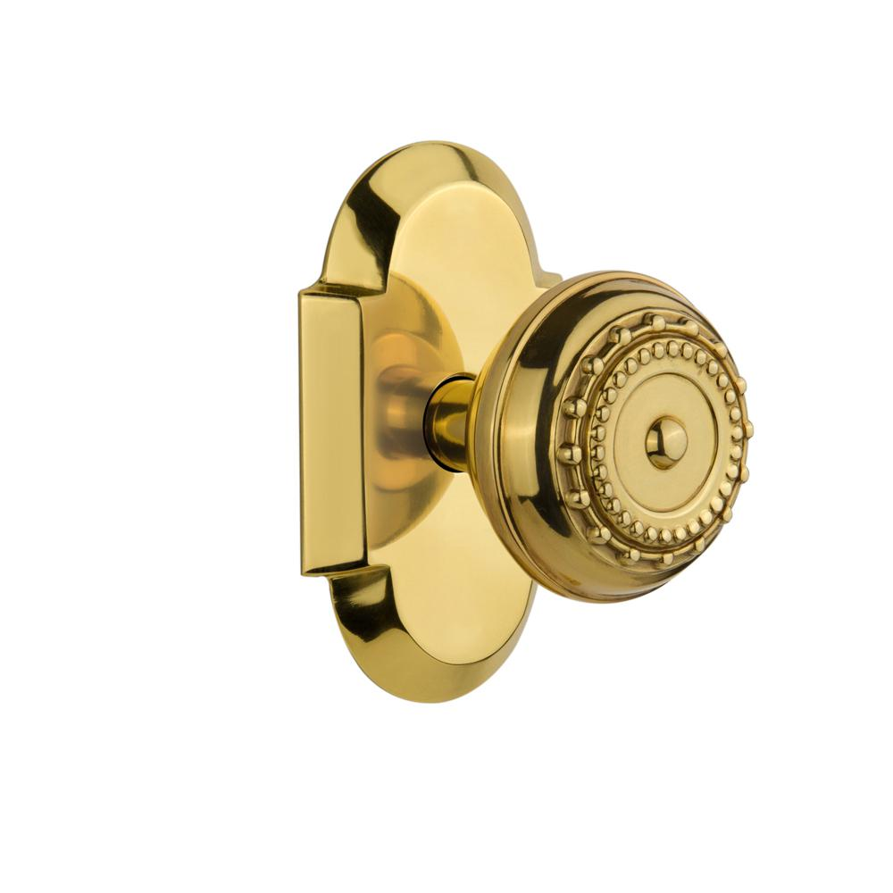 Cottage Plate 2-3/4 in. Backset Polished Brass Passage Meadows Door Knob
