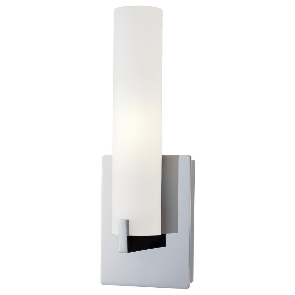 Tube 1-Light Chrome Wall Sconce with Etched Opal Glass