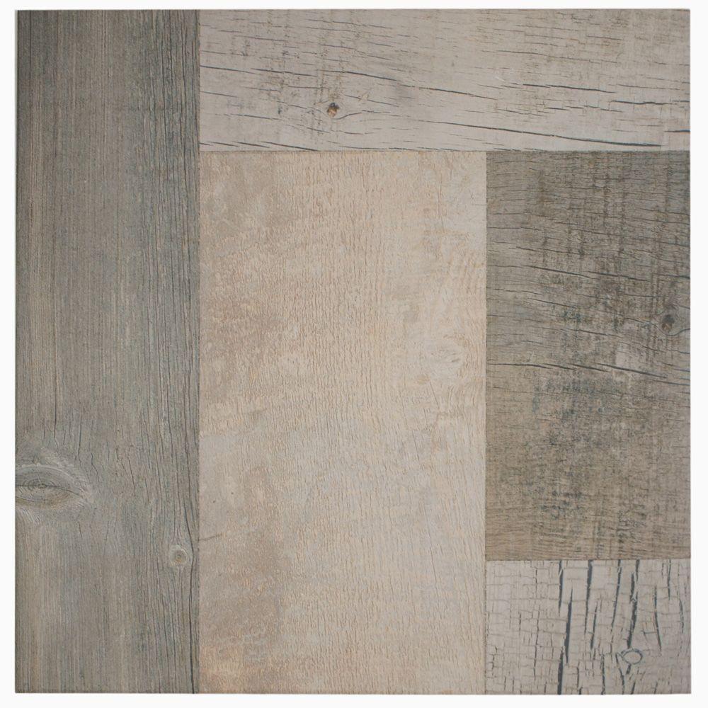 merola tile plank gris 17 3 8 in x 17 3 8 in porcelain floor and wall tile 17 sq ft case. Black Bedroom Furniture Sets. Home Design Ideas