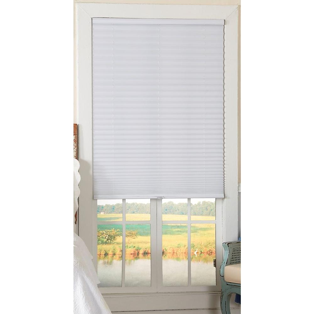 Perfect Lift Window Treatment White 1 in. Light Filtering Cordless Pleated Shade - 35 in. W x 64 in. L (Actual Size: 35 in. W x 64 in. L )