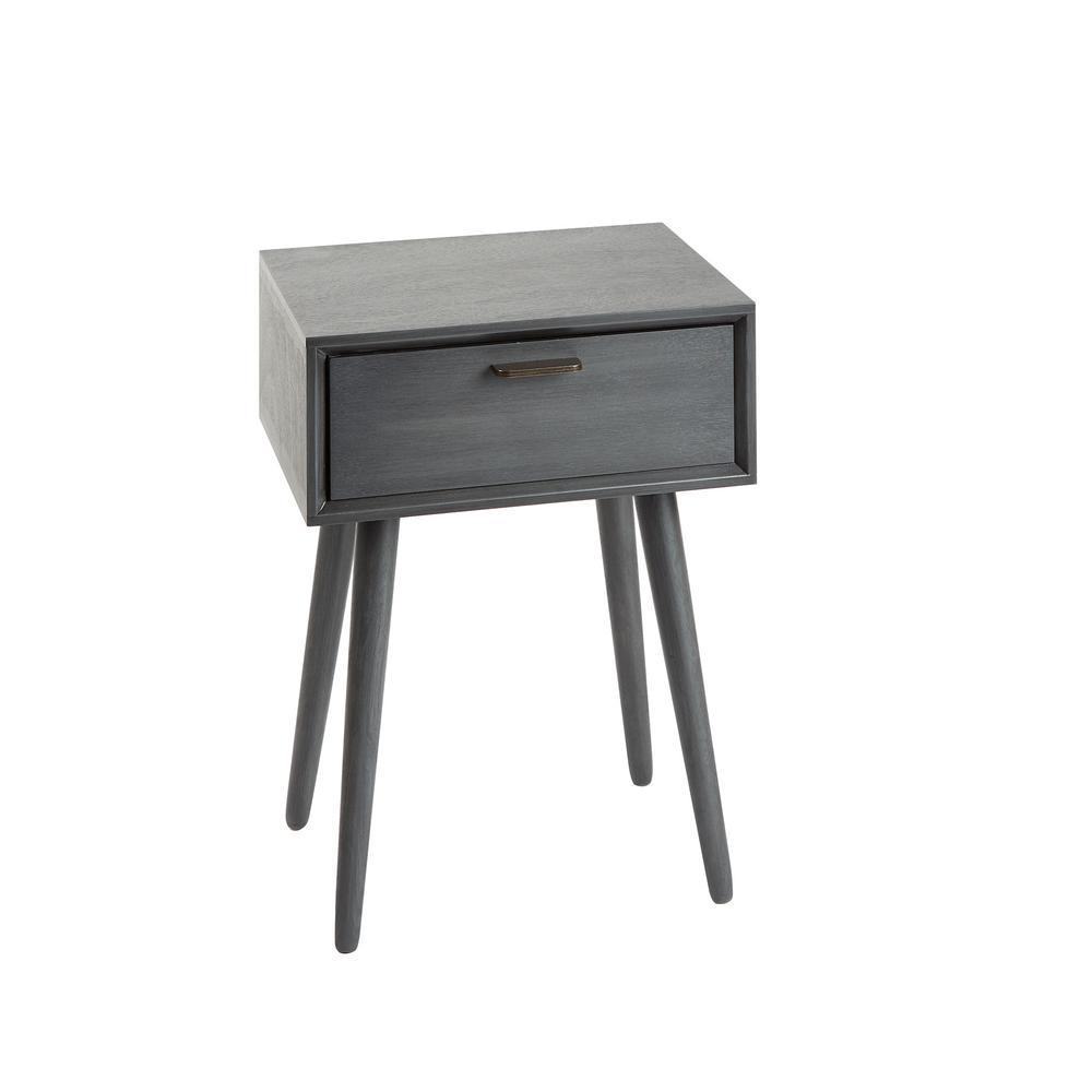 Olsen Gunmetal Gray Mid Century 1-Drawer Accent Table