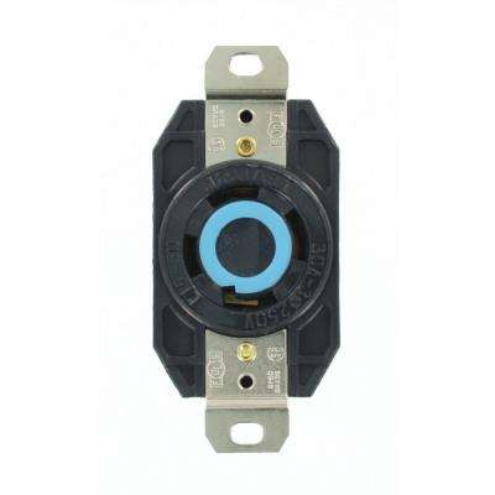 30 Amp 250-Volt 3-Phase Flush Mounting Grounding Locking Outlet, Black
