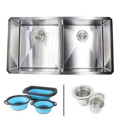 Undermount 16-Gauge Stainless Steel 37 in. x 20 in. 50/50 Double Bowl Kitchen Sink with Collapsible Silicone Colanders