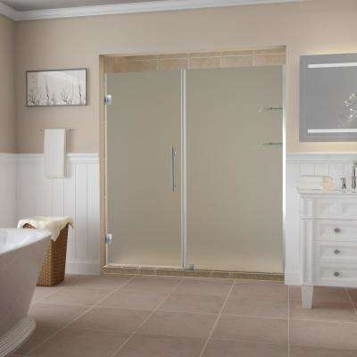 Belmore GS 57.25  to 58.25  x 72  Frameless Hinged Shower Door with Frosted Glass and Glass Shelves in Stainless Steel