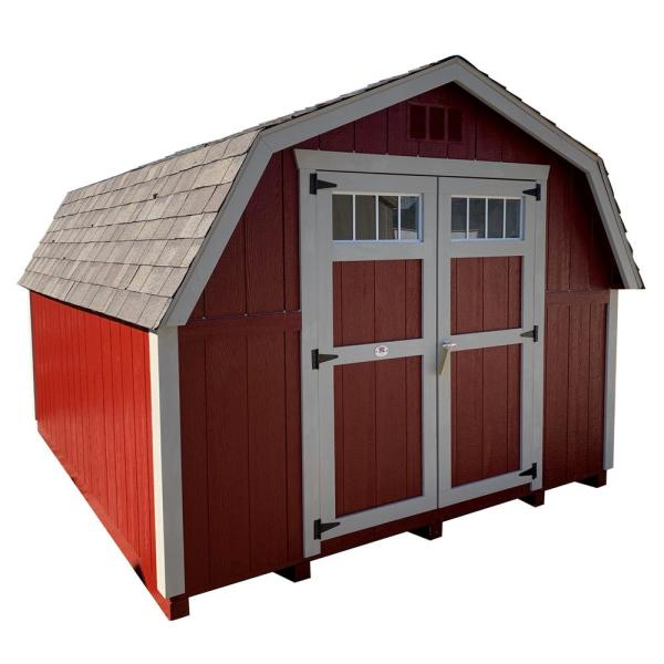 Colonial Greenfield 10 ft. x 12 ft. Wood Storage Building DIY Kit with 4 ft. Sidewalls with Floor