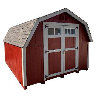 Colonial Greenfield 8 ft. x 12 ft. Wood Storage Building DIY Kit with 4 ft. Sidewalls with Floor