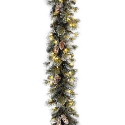 9 ft. Glitter Pine Garland with Clear Lights