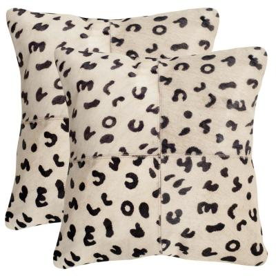Beau Leopard Animal Print Cowhide Down Alternative 22 in. x 22 in. Throw Pillow (Set of 2)