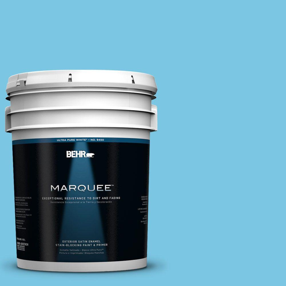 BEHR MARQUEE 5-gal. #530B-4 Bliss Blue Satin Enamel Exterior Paint