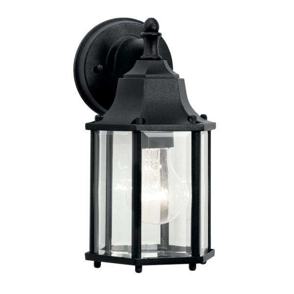 Chesapeake 10.25 in. 1-Light Black Outdoor Wall Mount Lantern with Clear Beveled Glass Panels