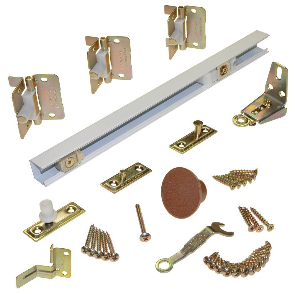 Johnson Hardware 1700 Series 30 in. White Bi-Fold Track and Hardware ...