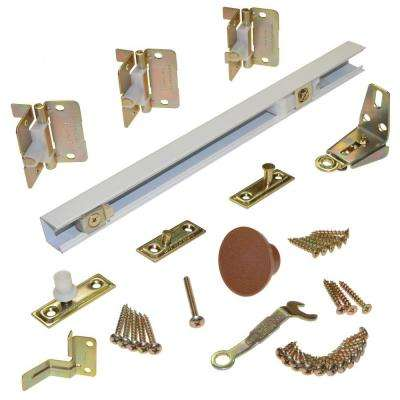 1700 Series 36 in. White Bi-Fold Track and Hardware Set for (2) 18in. Doors