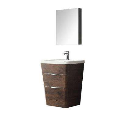 Milano 26 in. Vanity in Rosewood with Acrylic Vanity Top in White and Medicine Cabinet