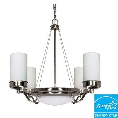 6-Light Brushed Nickel Hanging Chandelier with White Shades