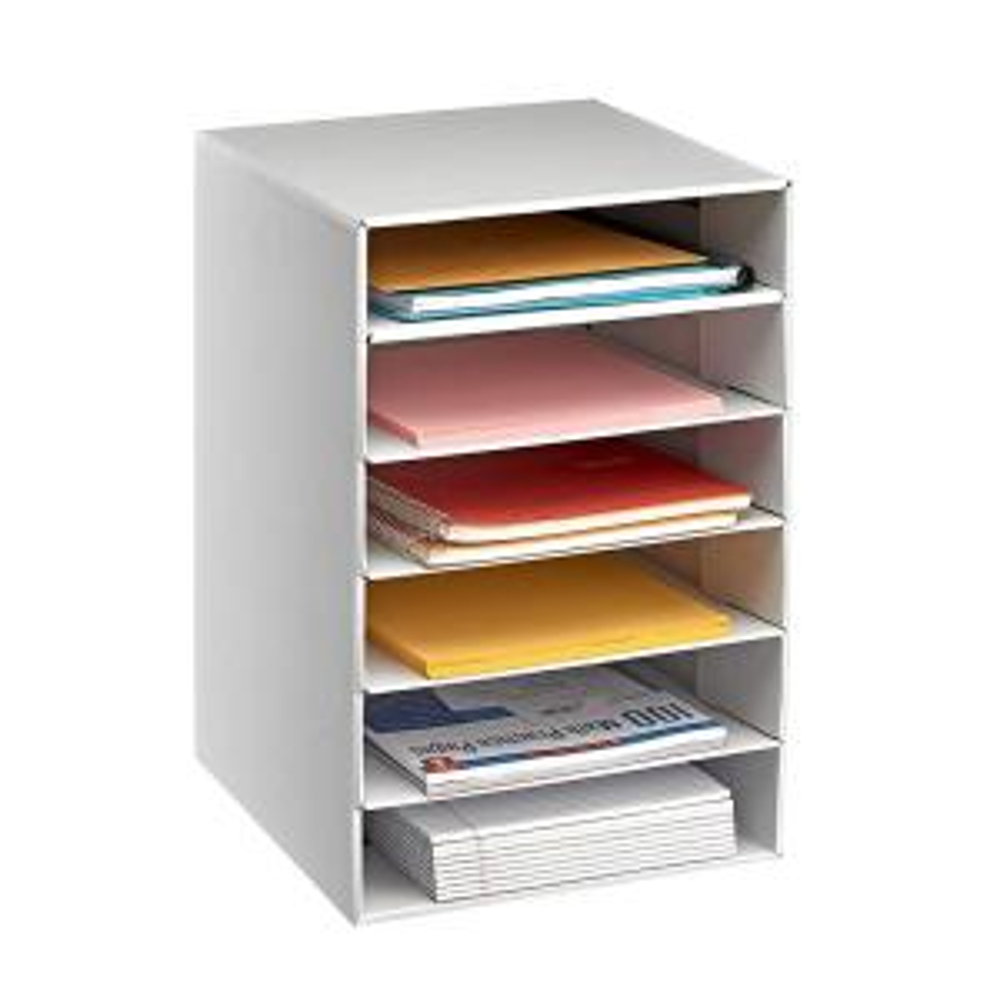 Adiroffice 6 Tier White Corrugated Cardboard Desk File