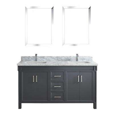 Serrano 63 in. W x 22 in. D Vanity in Pepper Gray with Marble Vanity Top in Gray with White Basin and Mirror