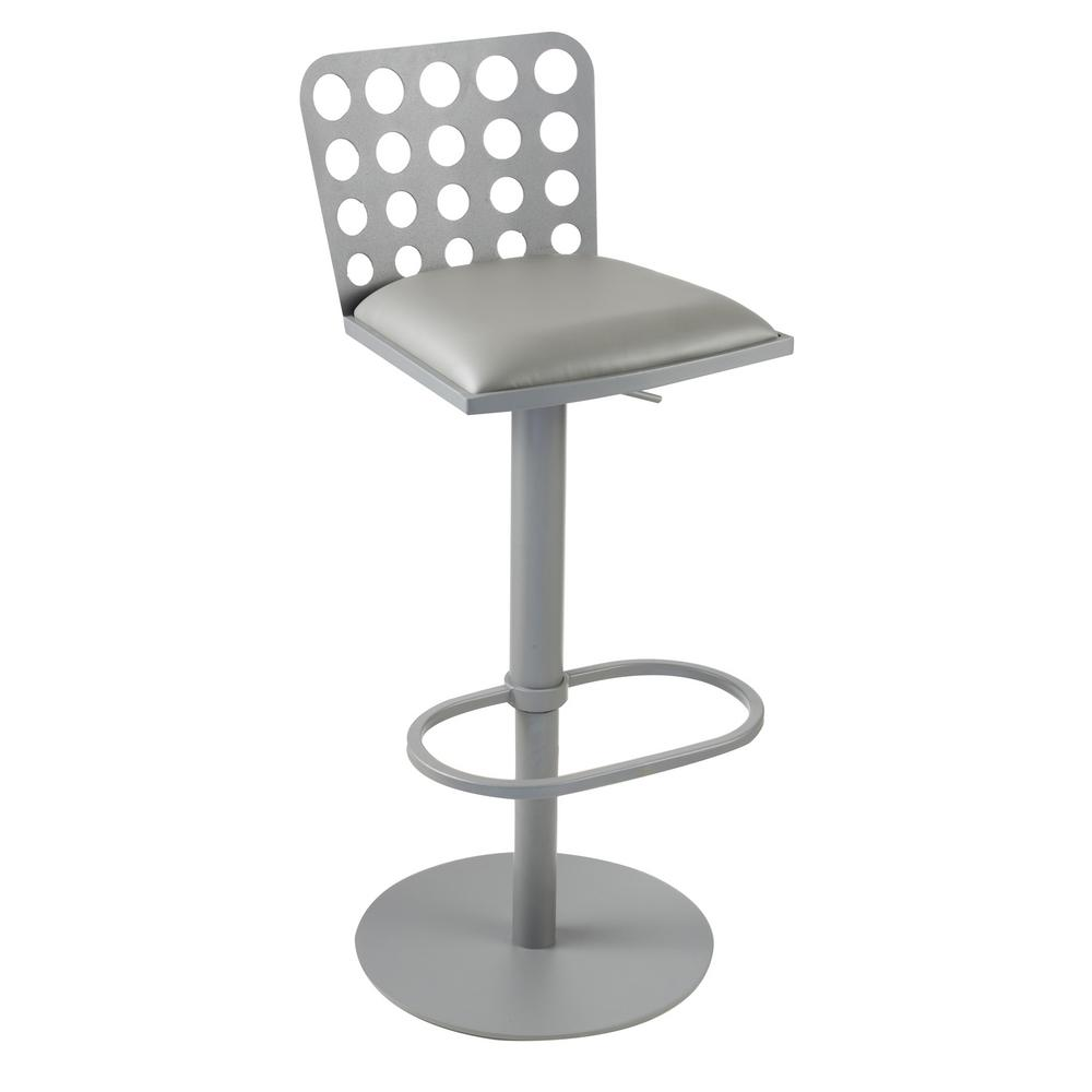 Armen Living Dune 31 In. Gray Faux Leather And Gray Metal Finish  Contemporary Barstool