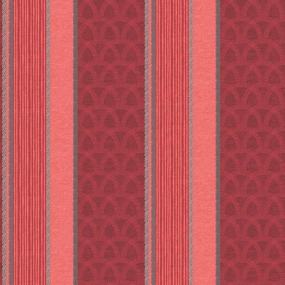 The Wallpaper Company 56 sq. ft. Red Multi Pattern Stripe Wallpaper