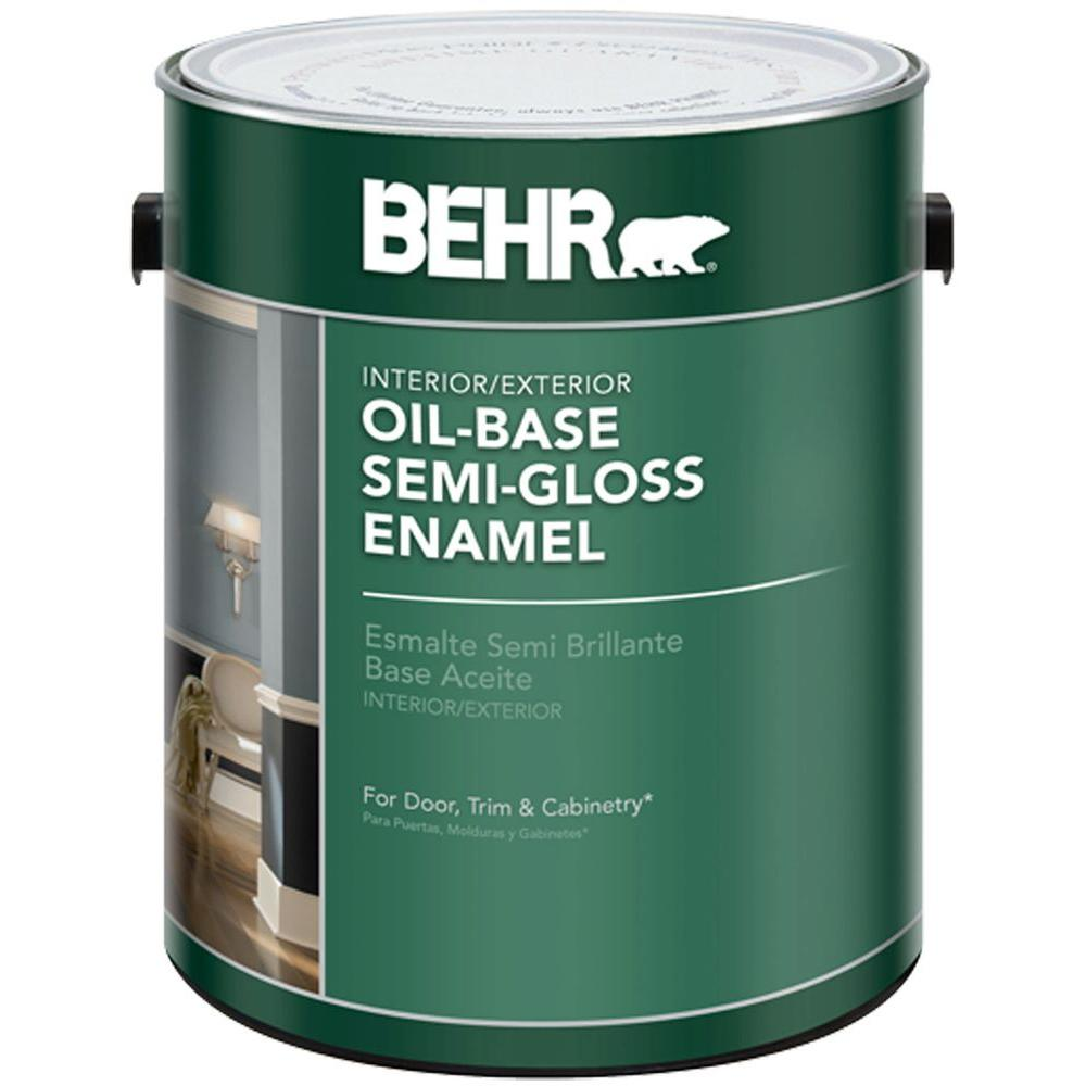 Behr 1 Gal White Semi Gloss Oil Based Interior Exterior Paint 380001 The Home Depot