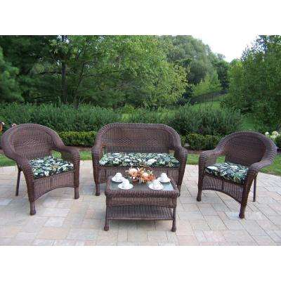Coffee 4-Piece Wicker Patio Conversation Set with Black Floral Cushions