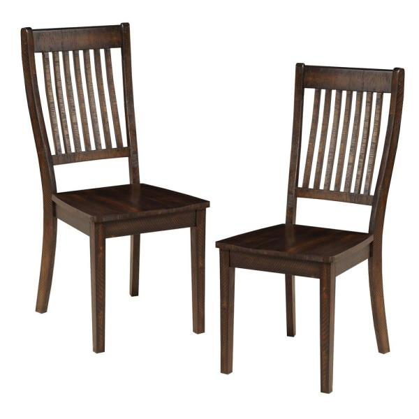 Espresso Brown Acacia Wood Side Chairs with Slatted Back (Set of 2)