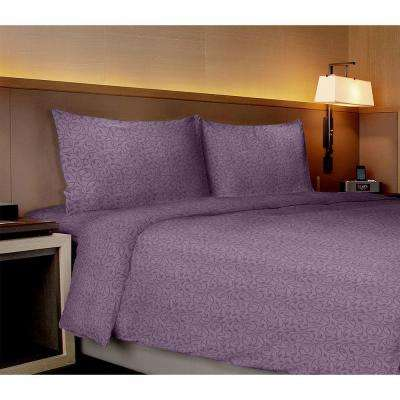 Willow Collection Vines Purple Queen Sheet Set (4-Piece)