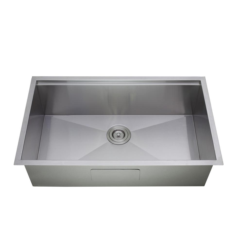 Empire Industries Princess All-in-One Undermount Stainless Steel 32 in.  Single Bowl Kitchen Sink