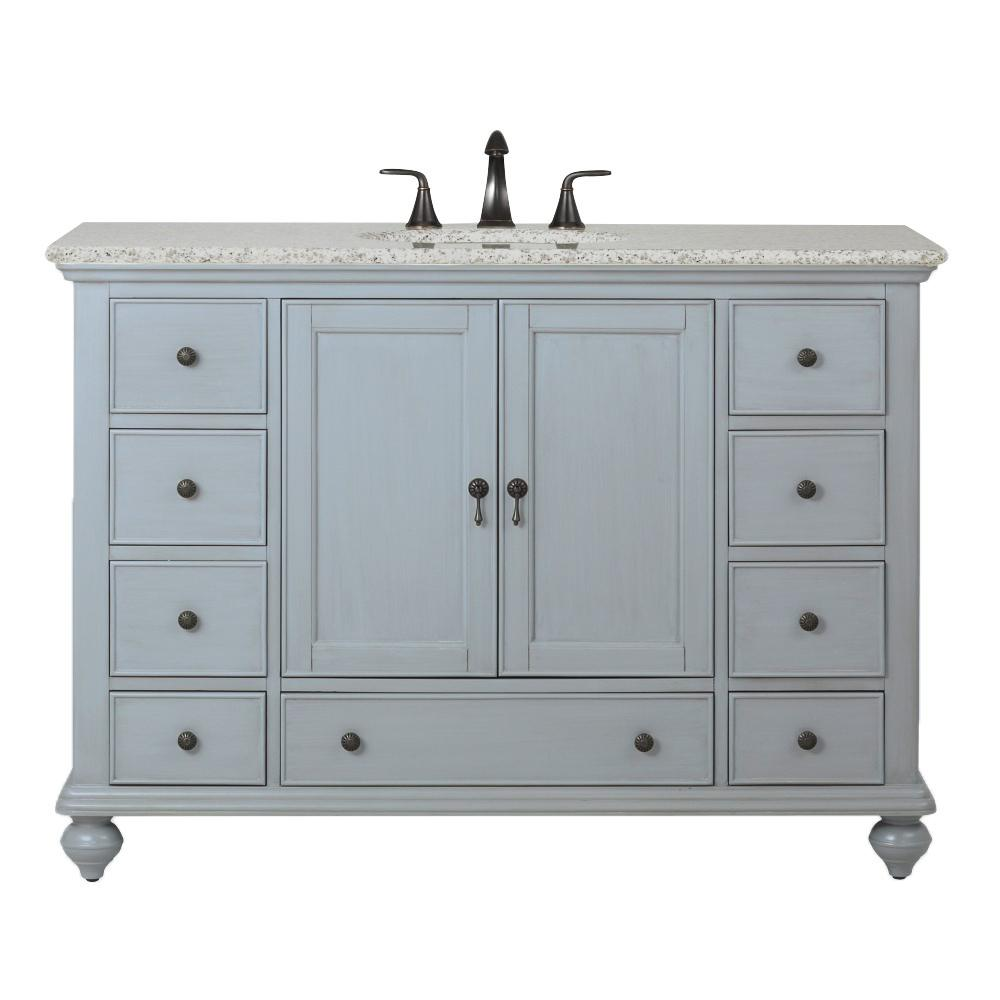 Home Decorators Collection Newport 49 In W X 21 1 2 In D Bath Vanity In Pewter With Granite Vanity Top In Grey 9085 Vs49h Pg The Home Depot