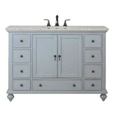 Newport 49 in. W x 21-1/2 in. D Bath Vanity in Pewter with Granite Vanity Top in Grey
