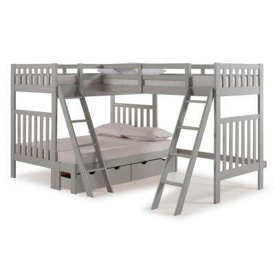 Aurora Dove Gray Twin Over Full Bunk Bed with Tri-Bunk Extension and Storage Drawers