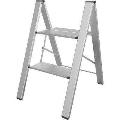 2-Step Aluminum Ultra Slim Folding Utility Step Ladder