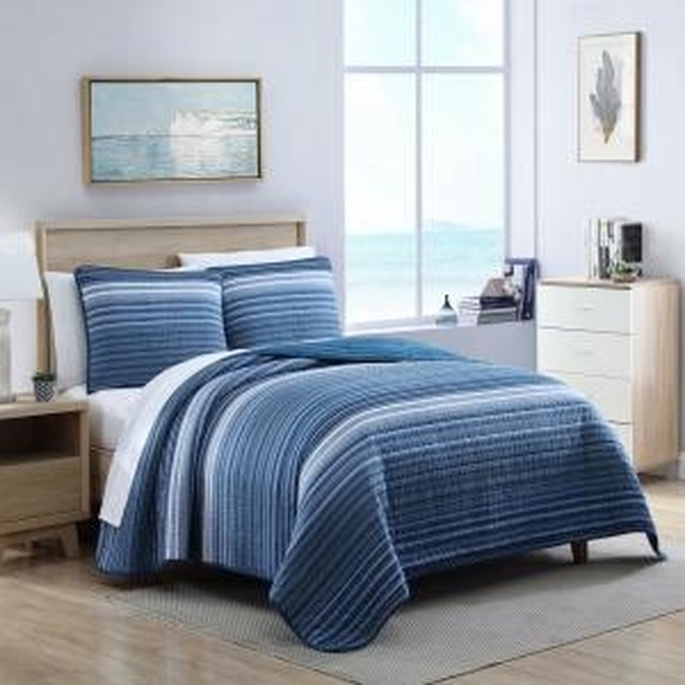 Coveside 3-Piece Blue Striped Cotton Full/Queen Quilt Set