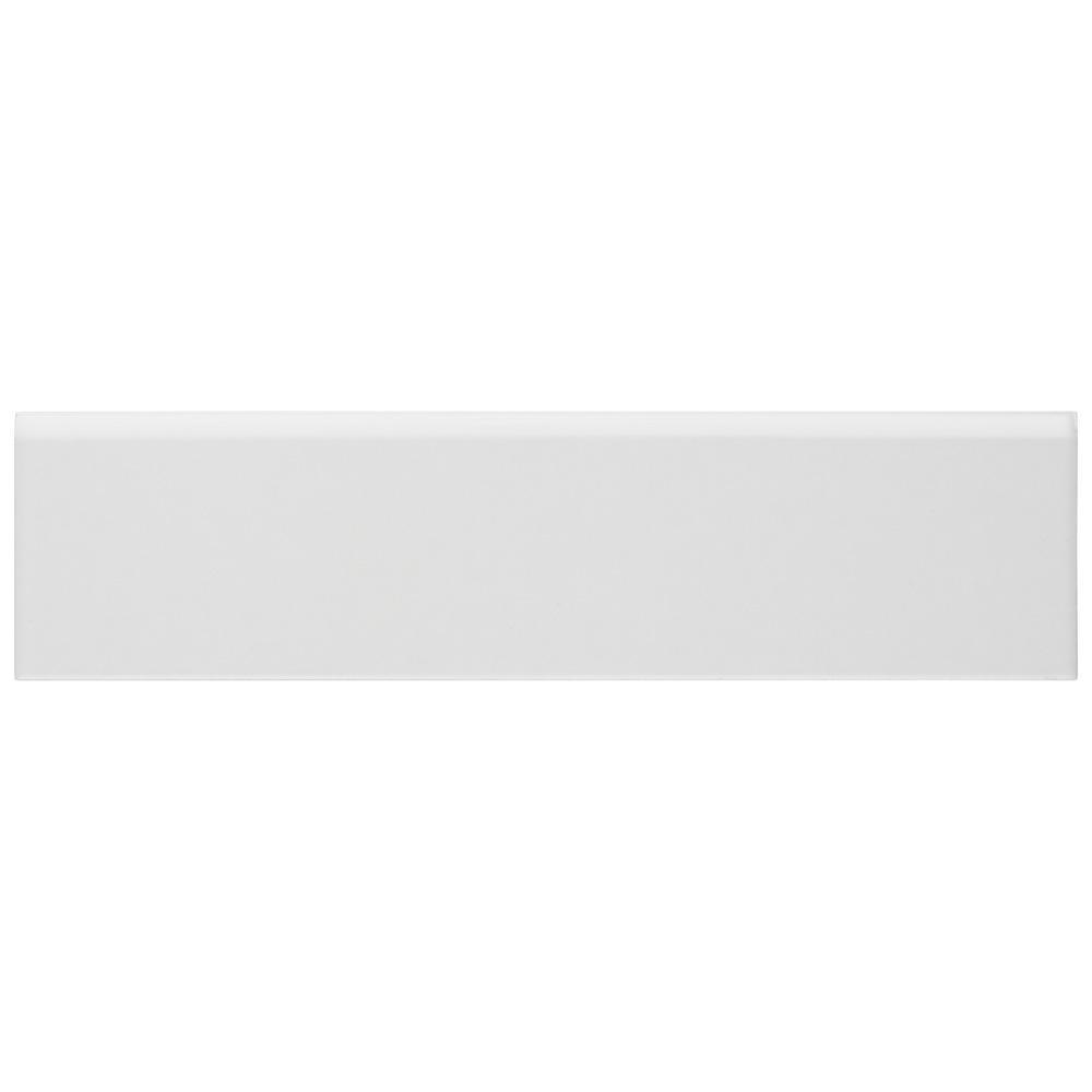 Battiscopa Matte White 3-1/4 in. x 12-3/8 in. Ceramic Wall Trim Tile